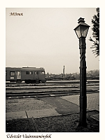 The Btx 019 MDmot driving trailer poses by a carved wooden lamp post at V�s�rosnam�ny