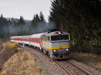 The ŽSSK 754 055-2 seen between Horná Štubňa obec and Čremošné