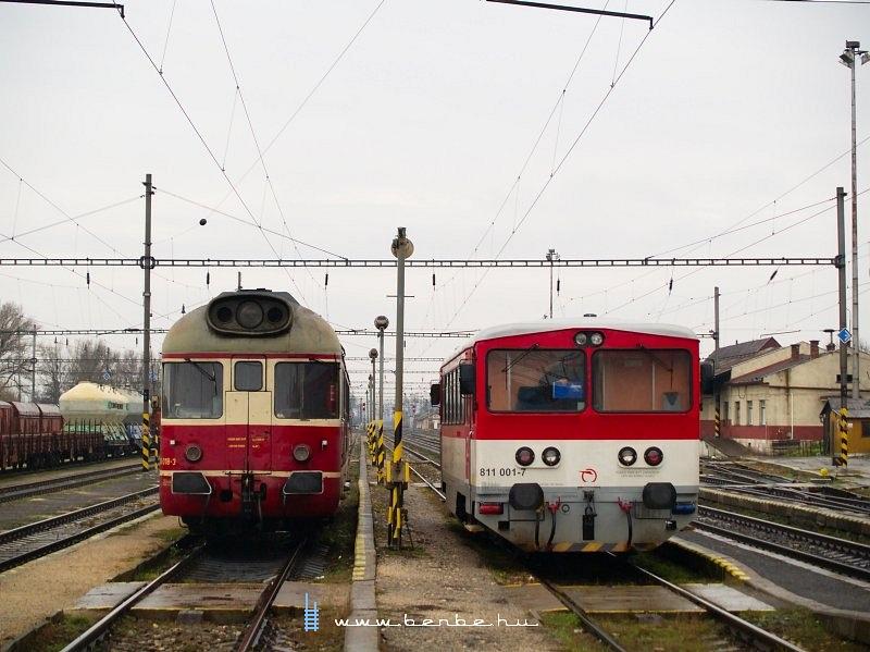 850 018-3 és 811 001-7 Hõlak (Trencianska Teplá) állomáson fotó
