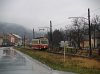 The historically painted EMU of the Trencianske Teplice electrified narrow gauge railway at the streets of Trenciansk� Tepl� (H�lak)