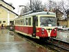 The historically painted EMU of the Trencianske Teplice electrified narrow gauge railway at Trenciansk� Tepl� (H�lak) station