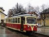 The historically painted EMU of the Trencianske Teplice electrified narrow gauge railway at Trencianská Teplá (Hõlak) station