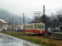 The historically painted EMU of the Trencianske Teplice electrified narrow gauge railway at the streets of Trencianská Teplá (Hõlak)