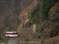The 813 021-3 in the narrow valley of the Orava river