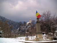 The church at Palotailva and a war memorial