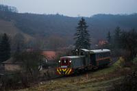The Királyréti Erdei Vasút Mk48 2031 seen between Hártókút and Feketevölgy