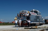 Group photo of the participants of the trains.hu photobus ride