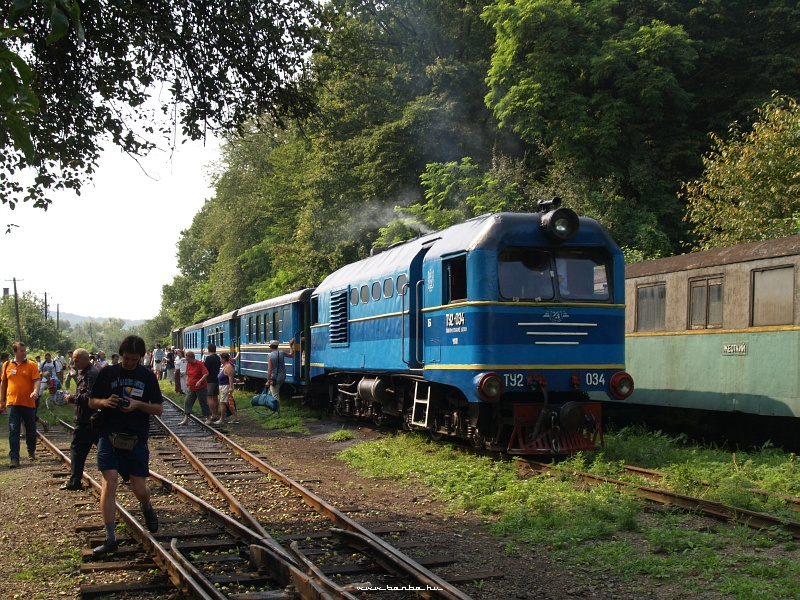 A Beregszászi Kisvasút TU2 034 pályaszámú mozdonya Komlóson fotó