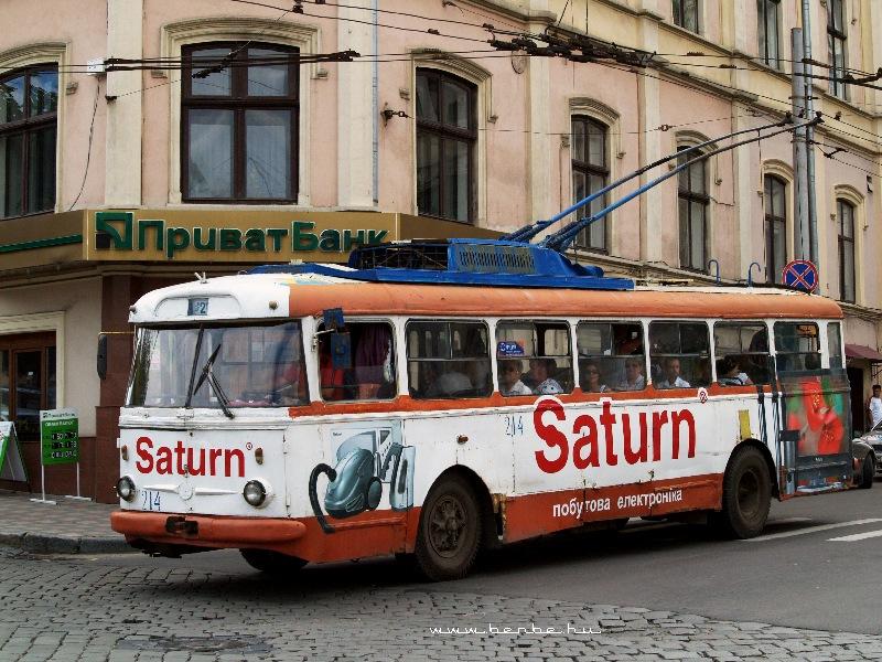 Régi Skoda-troli Csernovic belvárosában fotó