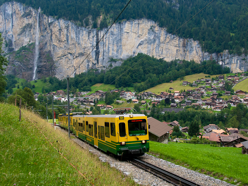 The Wengernalpbahn BDhe 4/8 131 seen between Witimatte and Rohrfluh photo