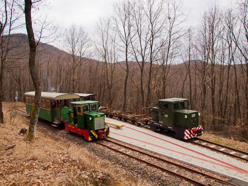 A Nagybörzsönyi Erdei Vasút C50 3756 és C50 3737 Füstös forrás állomáson fotó