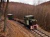 A Nagybörzsönyi Erdei Vasút C50 3737 Vetettfű és Füstös forrás között a Transzbörzsöny nagy szerpentinjén