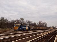 A Train Hungary 92 53 0 601 107-1 Orosháza állomáson magasoldalfalú kocsikból álló tehervonattal