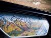 A Gornergratbahn útvonala a kocsik asztalkáin rajzolt térképen