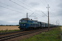 The PKP Cargo ET22 877 seen between Chrosnica and Zbaszyn