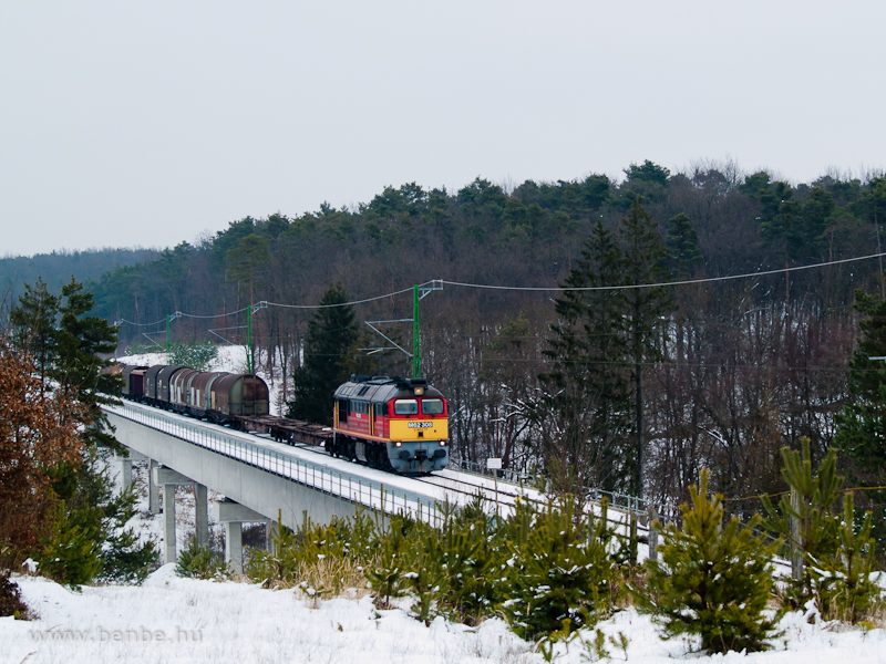 The M62 308 is pulling a mixed freight train on the small viaduct between Nagyrákos and Őriszentpéter photo
