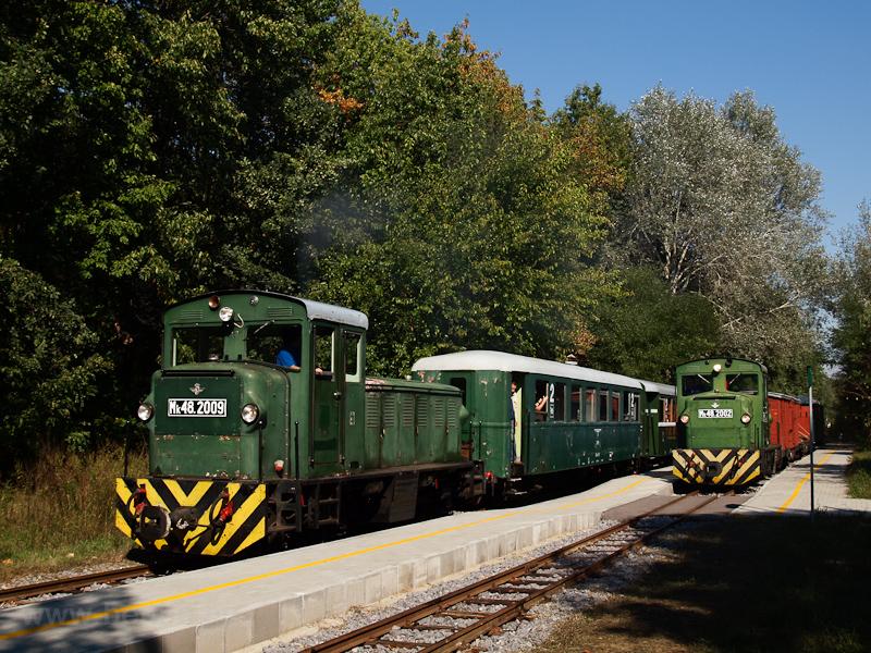 Mk48,2002 vegyesvonattal, Mk48,2009 személyvonattal Erdészlakon fotó